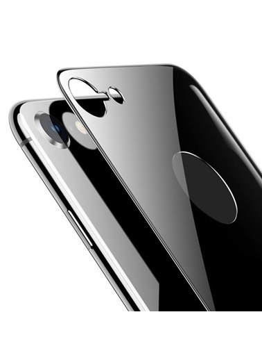 Microsonic Apple iPhone 8 Arka Tam Kaplayan Temperli Cam Koruyucu Siyah Siyah